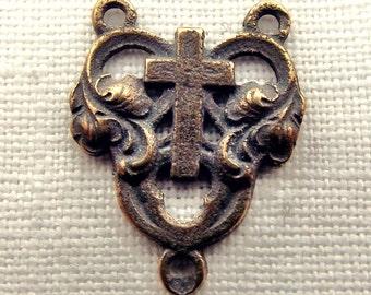 Bronze Heart w Cross Centerpiece
