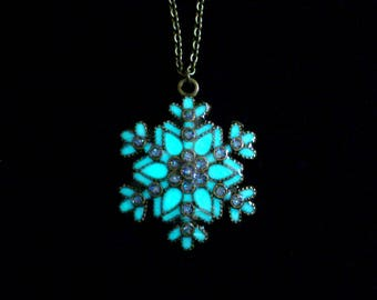 Snowflake Necklace Glow In The Dark Antique Bronze