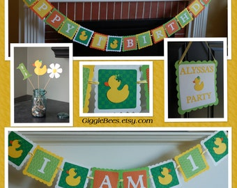 Duck Birthday Party Package, Duck Birthday, Duck Banner, Duck Centerpieces, I am 1 banner, Happy 1st Birthday, Door Sign, Duck Baby Shower