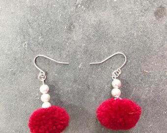 Tiny Pom Pom Earrings