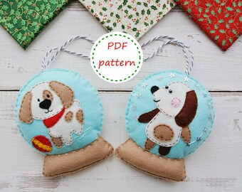 Felt SnowGlobe with Doggy, Felt SnowGlobe Pattern, Felt Pattern, Felt Dog Pattern,Felt Christmas, Felt Ornament Pattern,Christmas Ornaments