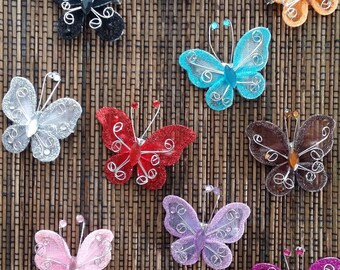Brightly Colored Rhinestoned Butterfly Hair Clips