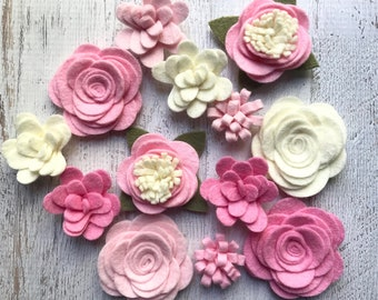 Wool Felt Fabric Flowers - Simply Pink Colletion -  Felt Flowers - Large Posies - 13 Flowers & 18 leaves - Create Headbands, DIY Wreaths