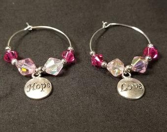 Breast Cancer Awareness Hoop Earrings