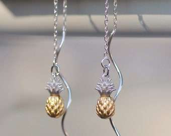 Tiny Two Tone Pineapple Earring,Sterling Silver Chain Threader Earring,Gold Silver Pineapple Charm,Silver Chain Earrings,Dainty,Petite,Gift