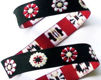 "Jacquard Ribbon - 5/8""  - Black, Red, Creme and White - Floral55"