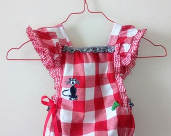 "Made in France. Hand made. ""Picnic"". Baby girl romper. Cotton blend 50/50. 9/14 months. Unique piece. 55 euros"