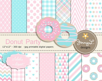 Donut Digital Papers and Clipart, Girl Doughnut Birthday Party, Digital Scrapbooking Paper, Dessert, Pink and Aqua, Turquoise, Chevron,