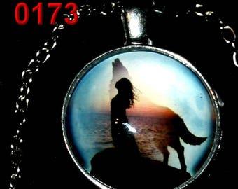 Amulet 173 native Wolf spirit Wolf spirit cabochon pendant necklace