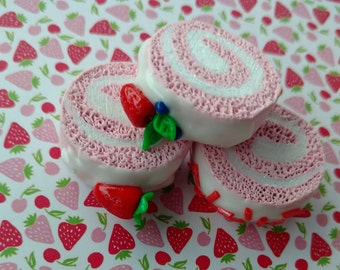 Adorable and realistic pink Swiss roll cake! Perfect for 18 inch dolls!