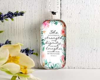 She Is clothed In Strength And Dignity-Large Rectangular- Glass Bubble Pendant Necklace