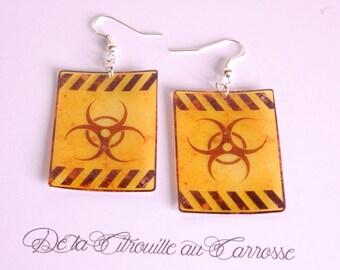 Earrings Biohazard, yellow and black