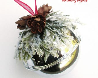 Silver Jingle Bell Ornament with Greens and Pinecones - Christmas Ornament, Co-Worker Gift, Ornament Exchange Gift