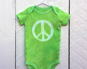 Peace Sign Baby Bodysuit, Baby Peace Sign Bodysuit, Green Peace Sign Baby Gift, Baby Shower Gift, Gender Neutral Baby Gift (6-9 months)