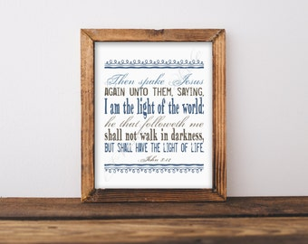 Christian artwork. I am the Light of the World. John 8:12. Bible verse. Scripture. Instant download. Printable art. Home decor. Names Jesus.
