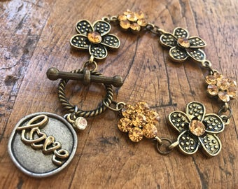 Bronze and Crystal, Fall Colors, Flower Bracelet