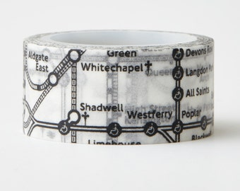 London Subway Map Washi Tape - subway tape - direction- planner stickers - decorative paper tape - Love My Tapes - LMT 1246