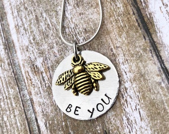 Be You Hand Stamped Graduation Birthday Christmas Necklace