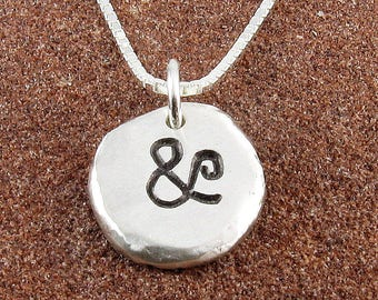 Ampersand Necklace,Organic Rustic Recycled Sterling Silver Ampersand Jewelry