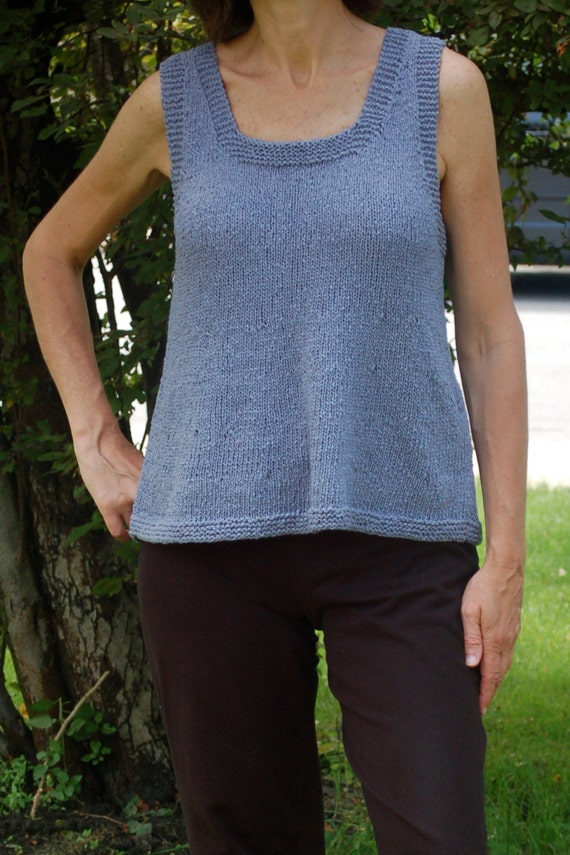 Easy to knit summer tank, sleeveless sweater, A-line top, simple to ...