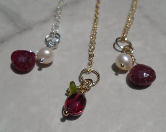 Ruby Necklace, Ruby Pearl Necklace, Garnet, Freshwater Pearl, Genuine Ruby, Gemstone Necklace