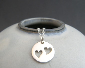 small silver heart necklace. sterling. two 2 heart cut outs tiny simple everyday pendant mother charm. new mom child jewelry. gift for her