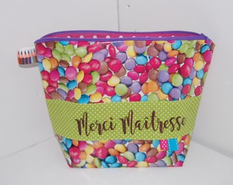 """Large flared case in oilcloth, candy smarties, """"Thank you teacher"""", woman"""
