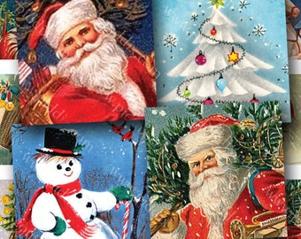 Vintage Christmas Digital Collage Sheet 7/8 inch squares -- Two in One -- piddix no. 826