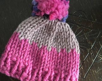 Children's Hand knitted chunky Merino bobble hat