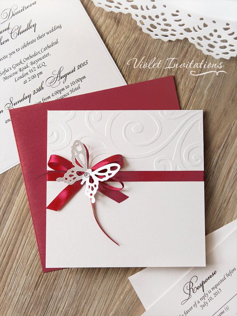 Butterfly Burgundy Handmade Ribbon Wedding Invitation