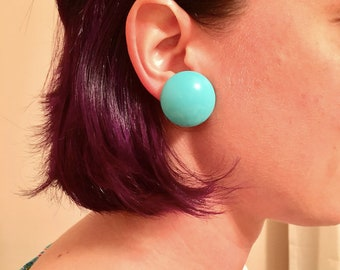 Aqua Clip-on Button Earrings