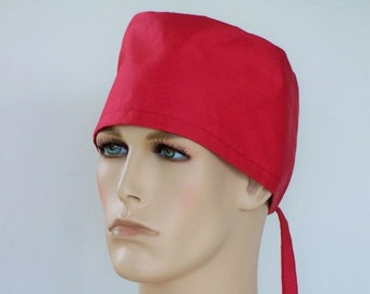 Mens Scrub Hat Traditional Tie Back Solid Red Lined Crown