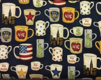 1072 NYC Mugs Fabric; The Henley Studio for Makower UK; 1/2 yard 100% cotton