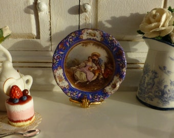 French Sèvres Romantic Cabinet Plate for Dollhouse