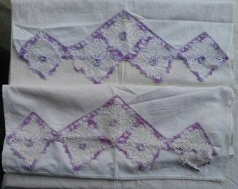 Taies d'oreiller Vintage blanc coton taies d'oreiller fleurs au crochet grande taie d'oreiller coton Vintage Repurposed Textile