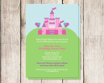 Princess party invitation, princess birthday party, printable princess party invitation, digital princess birthday party, custom invitation