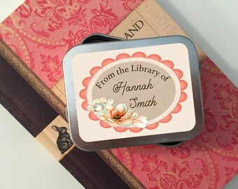 55 Magnolia Personalized Book Plate Stickers, Book Labels, Book Gift, Library Tags, From the Library Of, Baby Shower Bookplate, Book Shower