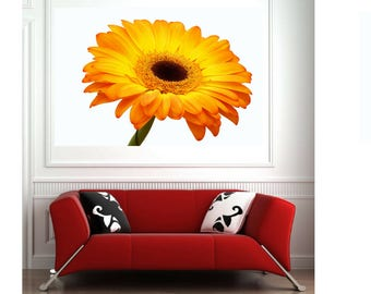 Gerbera print Yellow Gerbera art Flower wall art Macro  Daisy Print Flower home decor Yellow Gerbera Daisy Yellow white tan Floral still