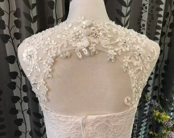 Beaded Keyhole Detachable Lace Straps for Strapless Wedding Dress, Custom Made (DS03)
