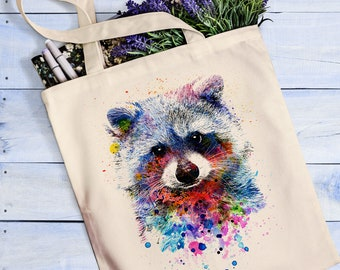 Raccoon tote bag Raccoon print Raccoon art Watercolor animals
