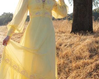 SUNSHINE Gunne Sax Style Dress Maxi Prairie Lace