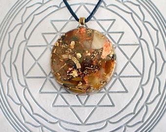Tiger Eye Orange Calcite Amethyst Shungite Orgonite® Pendant