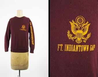 Vintage US Army Base Sweatshirt Fort Indiantown Gap Burgundy Raglan Pullover - Small