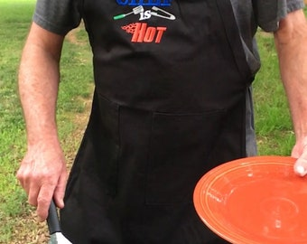 Embroidered men's Fathers Day aprons.