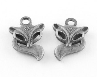 Fox Charms Antiqued Silver Animal Charms Forest Animal Charms Nature Charms 20mm 4 pieces