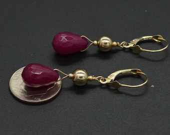 New 14K Solid Gold Natural 12x 8 Ruby Bead leverback Drop Earrings
