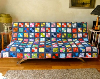 Bowtie Quilt Vintage Fabrics Hand Quilted Patchwork Bohemian Home