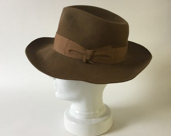 Large Borsalino classico hat - soft felt hat - classic fedora - gangster hat - broad-brimmed - brown fur felt - hand made in Italy - S0008