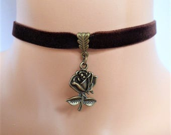 rose velvet choker, brown choker, rose necklace, antique bronze tone