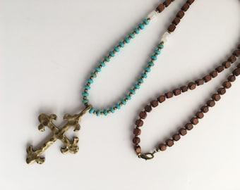 Cross Pendant Necklace, Boho Cross Necklace, Long Cross Necklace
